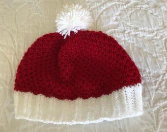Red and White Pom Pom Hat
