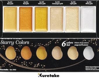 Watercolor Paint ZIG Kuretake Gansai Tambi Starry Colors 6 Colors set MC20SC/6V From Japan- beautiful gold colors-good for colored paper