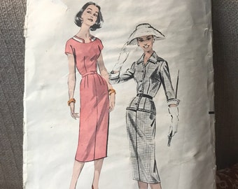 Vintage 50s Butterick 8490 Dress and Suit Pattern-Size 14 (32-25-34)