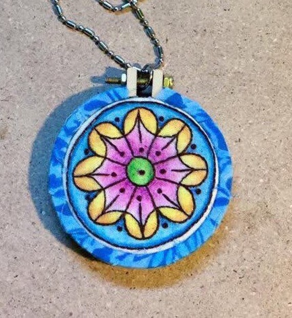 Sunburst Blue Mandala Hand Embroidered Mini Hoop Art Pendant, Whimsical, Tiny, Calming, Hand Embroidered