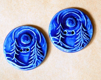2 Extra Large Forest Buttons in Blue