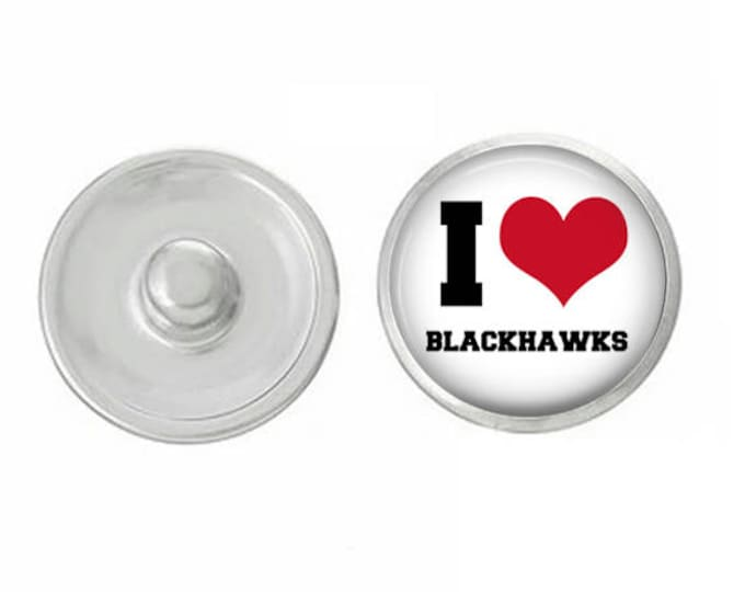 I Love the Blackhawks Snap - Pair with our Base Pieces - Compatiable with GingerSnaps and Magnolia and Vine Pieces - HandPressed Snaps