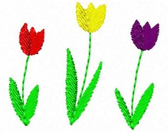 Machine Embroidery Tulip Border Small