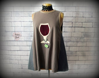 Upcycled Shirt Funny Food Clothing Wine Lover Gift Brown Tank A-Line Swing Top Women's Weekend T-Shirt Applique Top Art Wear L XL 'MERLOT'