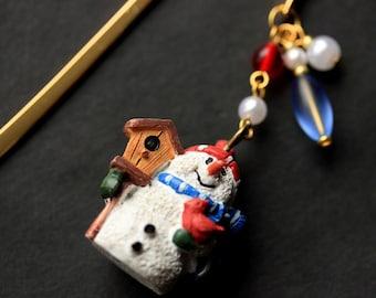 Snowman Book Charm. Christmas Bookmark. Beaded Bookmark. Book Hook Bookmark. Handmade Bookmark.