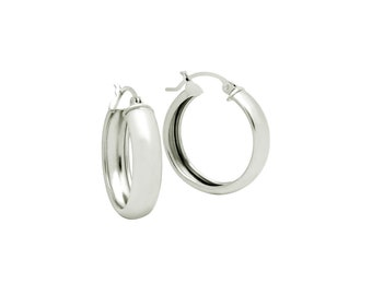 925 Sterling Silver 23mm Lightweight Hoop Earrings