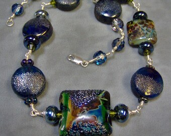 Lampwork Necklace-Metallic Artisan Wire Wrapped Lampwork Beaded Necklace-Boho Necklace-Statement Necklace-Organic Necklace - SRAJD_