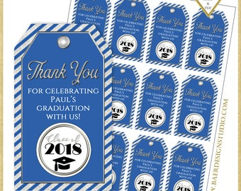 Graduation Thank You Tags: Blue and Silver Graduation Tags, Graduation Favor Tags, Graduation Printables, Personalized Graduation, #22718