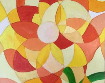 """The compass """"Zion"""" - abstract acrylic painting flower"""