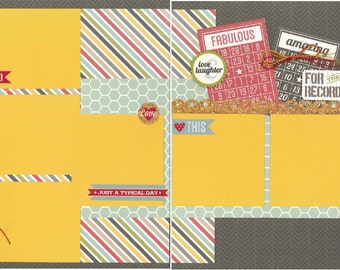 12x12 TODAY scrapbook page kit, premade life scrapbook, 12x12 premade scrapbook page, premade scrapbook page, 12x12 scrapbook layout