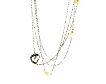 Double Heart Necklace with pearls and Rolo silver sterling 925 zirconate-Pearl White with gold plated necklace length 100 cm