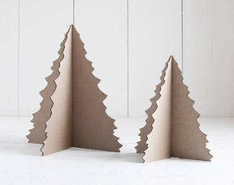 Chipboard Christmas Tree - 3D Laser Cut Cardboard Craft Tree Kit 6 or 8 Inches Tall