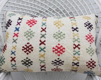 turkish decorative kilim pillow geometric pillow handmade pillow white pillow 16x24 pillow cover boho pillow throw pillow  16x24 kilim 1625