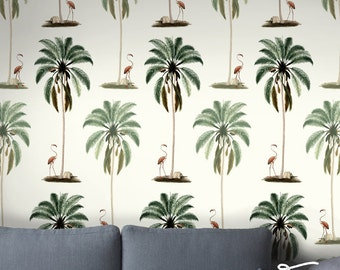 Seamless Self Adhesive Palm Tree Flamingo Pattern Wallpaper