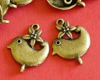 30pcs Antique Bronze Flower with Bird Connectors EA11604Y-AB