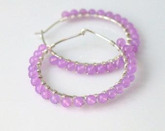 Large Purple Hoop Earrings, Lavender Beaded Hoops in Sterling or Gold-filled, Quartz Stone Beaded Handmade Earrings