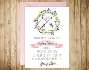 Baby Shower Invitations - Floral Baby Shower Invitations - Printed Whimsical Invitation Cards - Personalized Floral Baby Shower Invitations