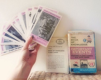 Vintage 1960 The Book Of Knowledge Flash Cards-Important Events