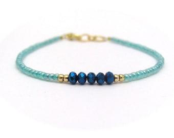Blue Bracelet, Blue Crystal Beads, Seed Bead Bracelet, Friendship Bracelet, Light Blue Bridesmaid, Minimal Bracelet, Hawaiian Jewelry
