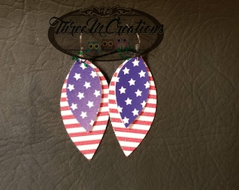 4th of July patriotic Red white blue faux leather earrings light weight nickel free or sterling silver flag stars and stripes