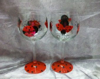 16 oz. Lady bug wine glasses, set of 4