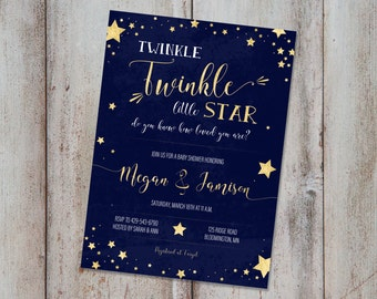 Twinkle Twinkle Little Star Baby Shower Invitation Gender Neutral Invite Printable Invitation Twinkle Twinkle Shower Invite Stars