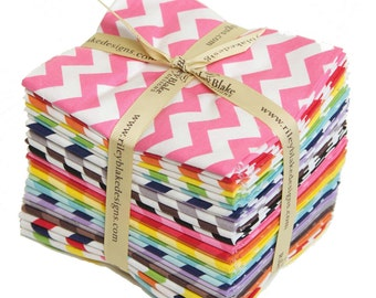 Chevron Fat Quarter Bundle Small chevron for Riley Blake, 24 pieces