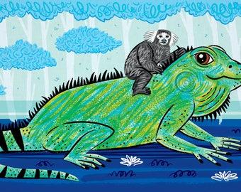 Iggy and The Marmoset - Childrens Animal illustration - Iguana Poster - Nursery Decor - Print by Oliver Lake - iOTA iLLUSTRATiON