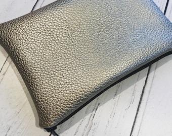 Pale metallic bag, faux leather clutch, gold bag