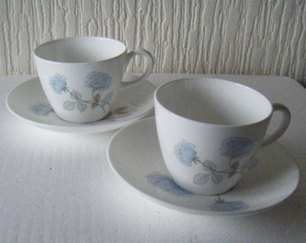 Two Wedgwood Ice Rose Teacups and Saucers