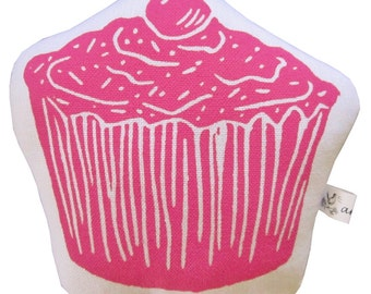 block print cupcake stuffie mini pillow