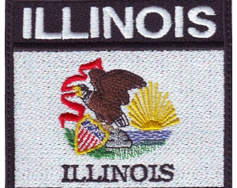 Illinois Badge Flag Embroidered  Patch