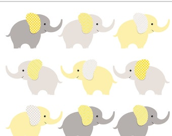 SALE Yellow and Gray Baby Elephants Digital Clip Art - 9 Pieces, Neutral, Baby Shower, Unisex, Baby Animal, Gender, Elephant