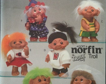 """Butterick 6439 Norfin Troll Family Clothing and Accessories Bride and Groom, Clown, Gym Clothes, Cheer - Size 10"""" Doll"""