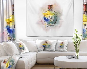 Designart Perfume Bottle Contemporary Wall Tapestry, Wall Art Fit for Wall Hanging, Dorm, Home Decor