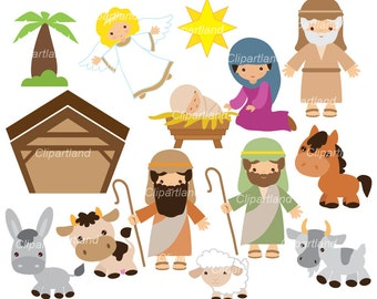 ON Sale Instant Download. Nativity clip art. Christmas clip art. Cn_1. Personal and commercial use.