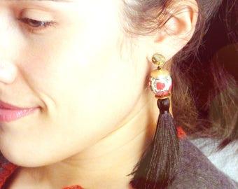 Boucles d'oreilles à pompons,Boucles d'oreilles noires,Boucles d'oreilles en soie,Boucles d'oreilles luxe,Boucles d'oreilles bohèmes