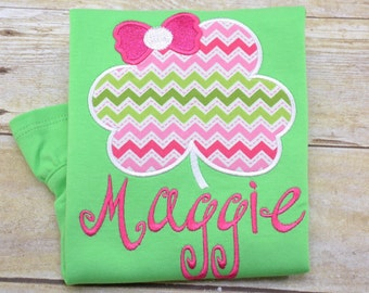 St. Patrick's Day Clover Shirt boy girl kid child baby toddler infant embroidery applique custom monogram name personalized saint patty
