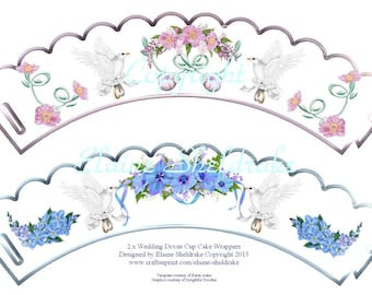 2 x Wedding Doves With Rings & Flowers Cupcake Wrappers