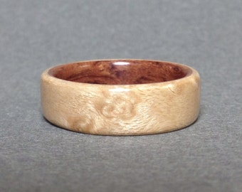 Birdseye Maple Bentwood Ring, lined with Bubinga, Men's Wood Ring, Women's Wood Ring