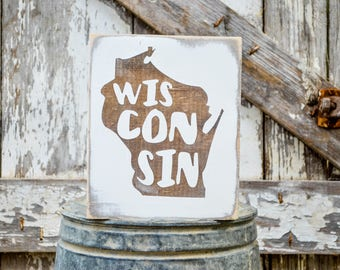 Wisconsin Wood State Sign | Rustic Decor | Wood Sign | Country Home | Wall Hanging | Farmhouse Decor | Whitewash | Home State Sign