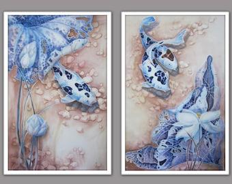 Original Silk Painting -Koi 1 (Part 1 of diptych)- Painting on Silk