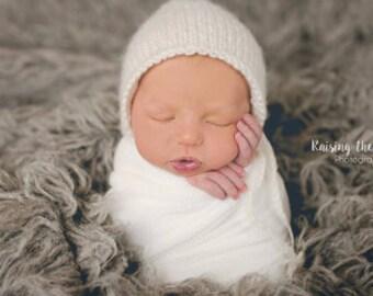Classic Newborn Bonnet.Knit Bonnet.Photo prop.Baby gift.Neutral colors bonnet.Ready to ship Mauve bonnet. Light blue bonnet. grey bonnet