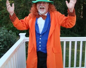Mad Hatter Costume Adult XL Man 4 Piece Halloween Theater Handmade Willy Wonka
