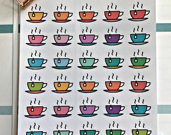 Tea cup life planner stickers