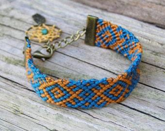 Woven ikat bracelet, Aztec fiber jewelry, Dream catcher charm, Native american indian, Turquoise ethnic dreamcatcher, Orange tribal cuff BFF