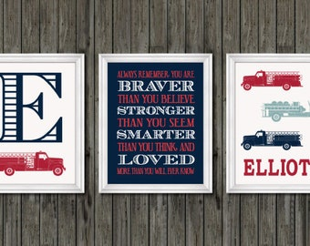 Fire truck nursery decor, firefighter nursery art, navy firetruck art, firetruck theme, boys firetruck decor, boy wall art, firefighter art