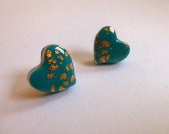 Heart Stud Earrings Heart Post Earrings Turquoise Heart Post Earrings Turquoise Heart Stud Earrings Valentine's Day Earrings