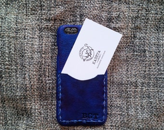 iPhone 8 Leather Case, Wallet Card Case, iPhone 7 leather, iPhone 6s, iPhone 6, Card Holder 'Old Navy'