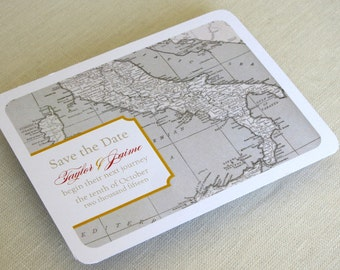 Italy Wedding Save the Date Postcard - Vintage Map - Destination Travel Theme - Color and Font Options